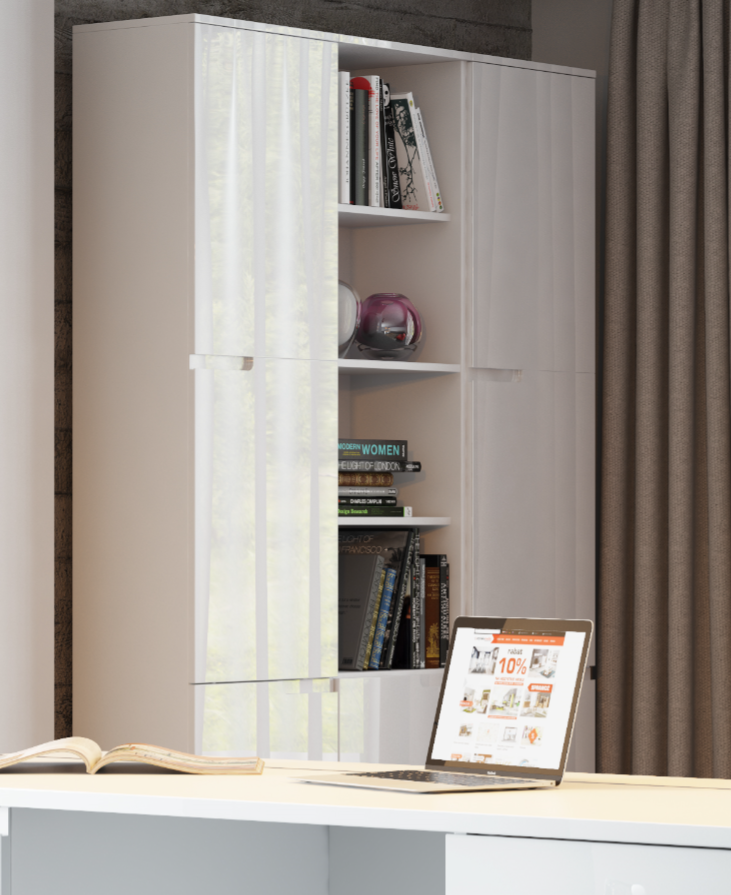 Cellini White Gloss Tall Bookcase With Doors S13